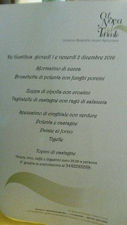 Monteveglio, İtalya: Menu