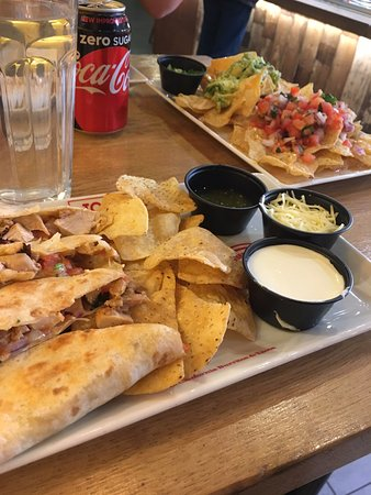 Nottinghamshire, UK: quesadilla and nachos