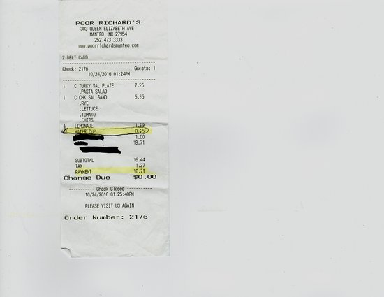 Poor Richard's Sandwich Shop : Photo of my receipt with charge for water cup
