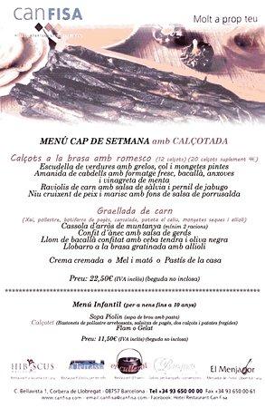 Corbera de Llobregat, España: Menu de fin de semana, Calçotada