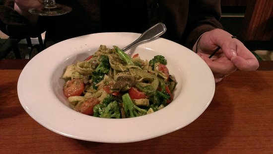 Goat Cheese Pesto Fettuccine, at the Fall City Roadhouse and Inn.