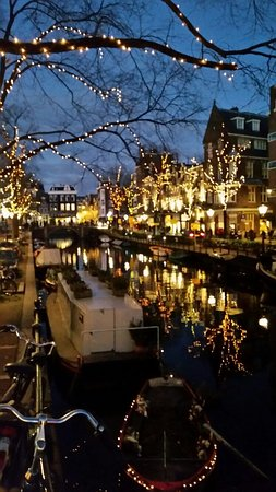 Banks Mansion: View of nearby canal during Festival of Light December