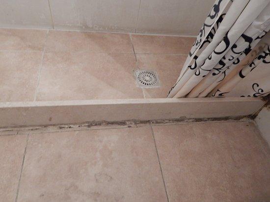 Hongos en el borde la la ducha de la habitaciòn