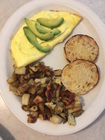 Sidney, NE: Omelet with avocado slices and potatos