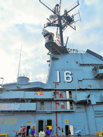 USS LEXINGTON: View of Bridge from Flight Deck