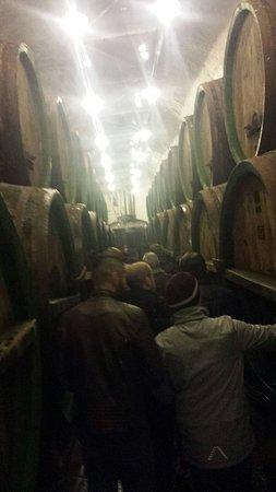 Pilsen, Czech Republic: Langs de vaten waar het bier dagen in blijft en dan verder verwerkt wordt.