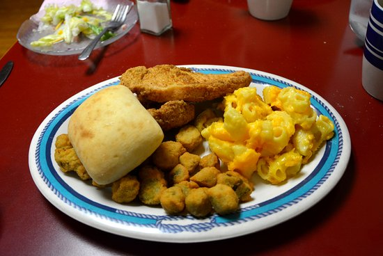 Bessemer City, NC: Two Pork Chops, Fried Okra, Mac & Cheese Lunch Special