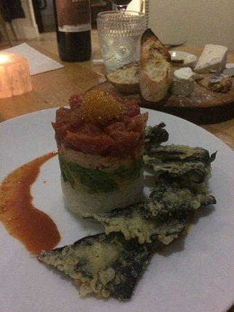 McKinney, TX : So good it made my husband cuss at the table, ha ha!! (Tuna tower w/ tempura fried nori chips)