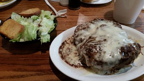 Demopolis, AL: Roast beef baked potato with a small salad