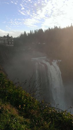 View of Snoqualmie Falls, Washington, from upper observation area.