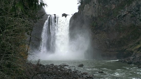 View of Snoqualmie Falls, Washington, from lower observation area.