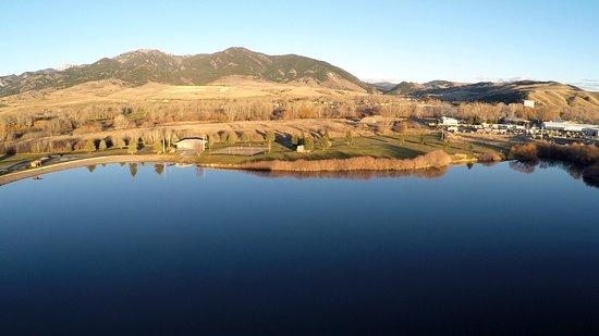 Bozeman, Montana: Aerial view of lake and Bridger Peaks behind the Park, fall 2016