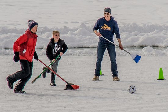 Bozeman, MT: Broomball, ice skating and pick-up hockey games happen at EGRA in winter
