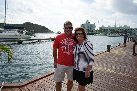 Marigot, เซนต์มาร์ติน / ซินท์มาร์เทิน: Wife & I at Oyster Pond ferry dock.