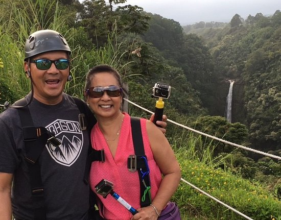 Honomu, HI: akak falls in the background. Cant believe we just zipped over that!