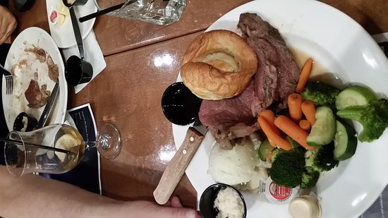 Ajax, Canada: Served very late. Look across table, person done his meal. Picture of a fatty medium-rare prime