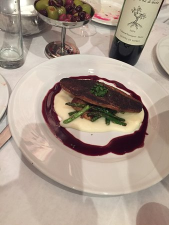Boerne, TX: Fresh Spanish Sea Bass with wine reduction sauce.
