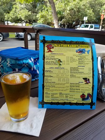 Outdoor seating in the front patio. Check out the menu!