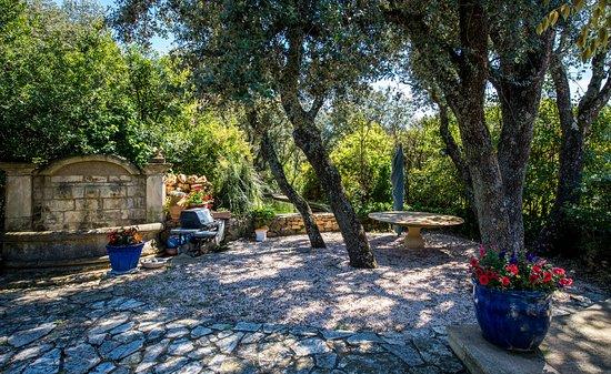 Saint-Marc-Jaumegarde, França: terrasse avec fontaine et bassin