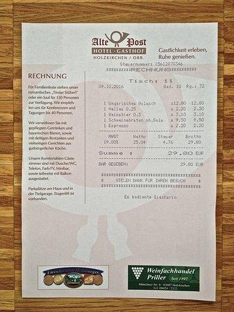 Holzkirchen, Deutschland: Rechnung
