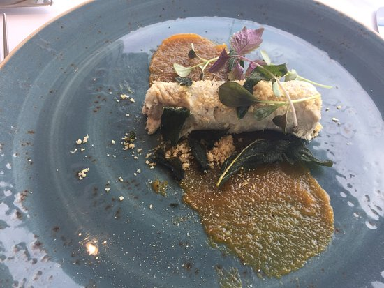 Cronulla, Australia: Pork rillette with apricot purée, shaved macadamias and crispy sage