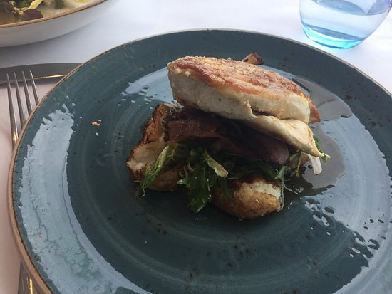Cronulla, Australia: Oven roasted chicken breast with maple glaze, smoked chat potatoes and speck