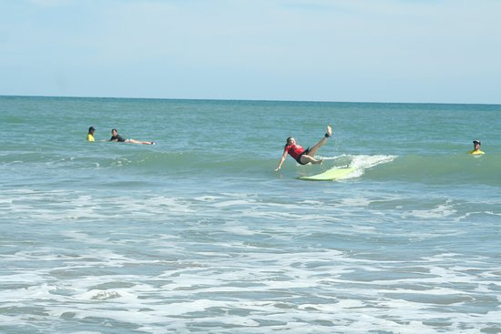Panama Surf School: Not the most graceful, but hey, I can now say I surfed!