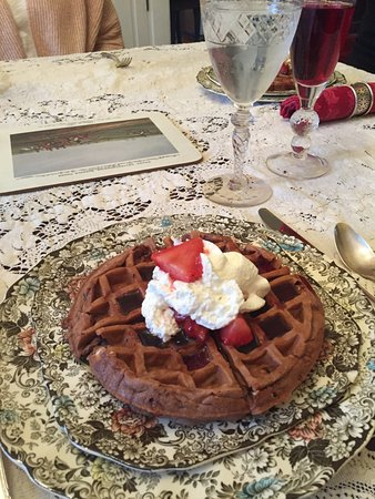 Oxford, OH: Yep, it's a chocolate waffle with fresh berries and cream!
