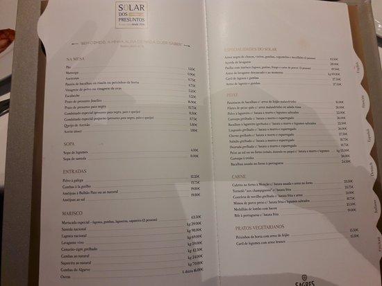 Solar dos Presuntos: o menu