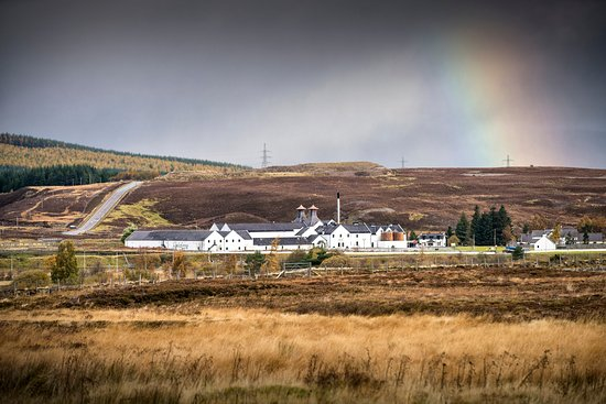 Dalwhinnie Distillery with rainbow