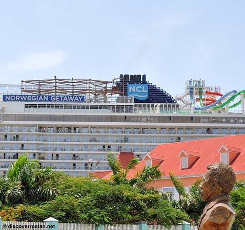 Norwegian Getaway Cruise Ship At Port Of Roatan Honduras - Getaway cruise ship