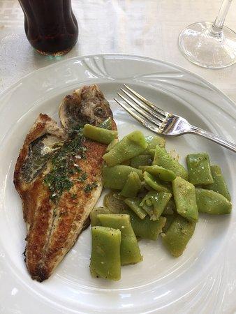 Carmen de la Victoria: Orata fritta e il panorama dalla terrazza del ristorante con vista su Alhambra
