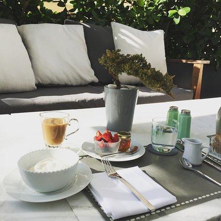 Relaxing breakfast on the terrace