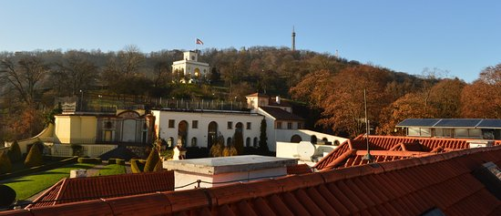 Aria Hotel: View of the hotel gardens and Petrin Tower from the roof terrace