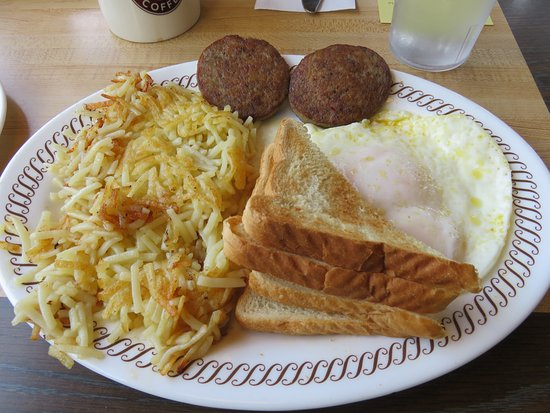 Lenoir City, TN: Two eggs over easy with sausage patties, toast and a large order of hashbrowns