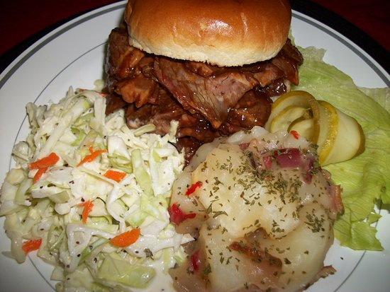 Hermann, MO: Beef Brisket, Cole Slaw, German Potato Salad. Daily Lunch Specials