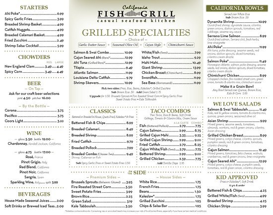 Cerritos, CA: California Fish Grill - Menu