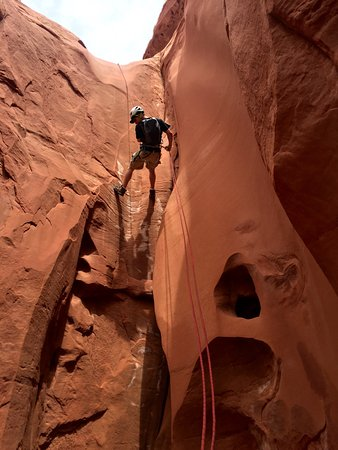 Park City, UT: repelling a slot canyon!