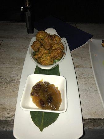 Holetown, Barbados: Chicken pakoras with mango chutney