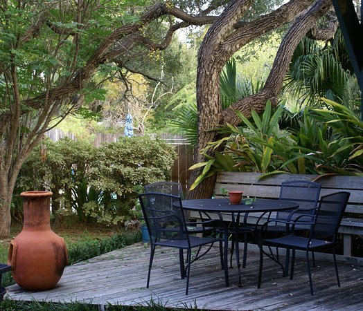 Anthony's by the Sea: Enjoy the view of Anthony's backyard garden while eating a gourmet breakfast and coffee.