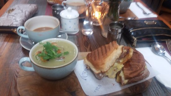 Howden, UK: Potato and leek soup Auntie Hettys sausage cheese and chutney toasted sandwich