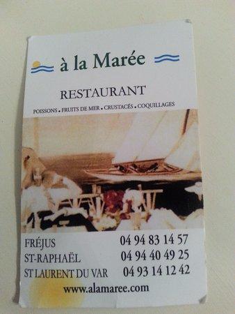 St-Laurent du Var, France: Carte de visite du restaurant