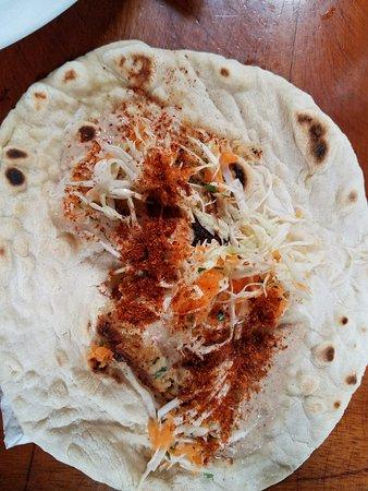 "Balgue, Nicaragua: Flafel wrap. Remember to get ""Polvo Picante"""