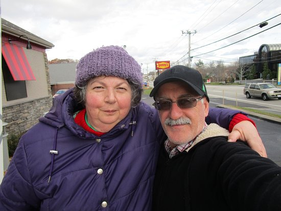 Cranston, RI: Louis and I outside of Denny's Restaurant.
