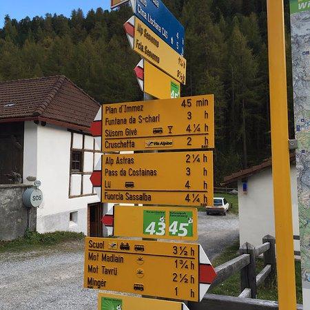 S-charl, Suiza: Wanderwegweiser