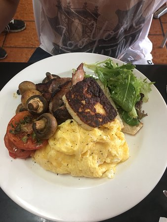 Swansea, Australia: French toast and big breakfast. Switched the sausages for haloumi.