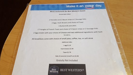 North Fort Myers, FL: The iHop menu for the provided breakfast.