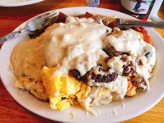 Folsom, CA: Country Scramble - Biscuits, sausage, eggs, gravy, potatoes