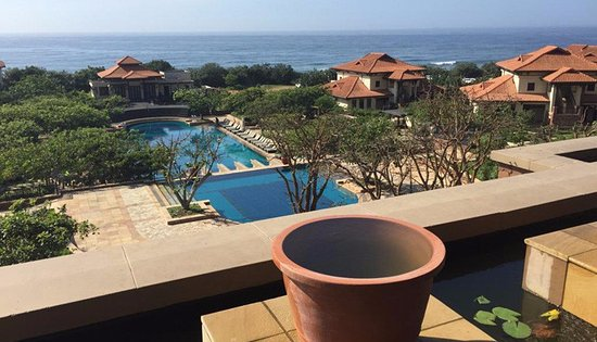 Fairmont Zimbali Lodge: A view of the main pool from Coral Tree Restaurant