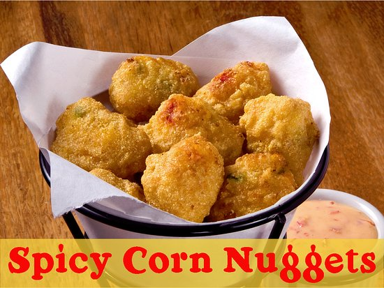 Bellefontaine, OH: crisp cornmeal batter filled with fire-roasted corn, cheddar cheese, diced jalapenos and red pep